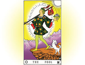 the fool tarot card hand colored